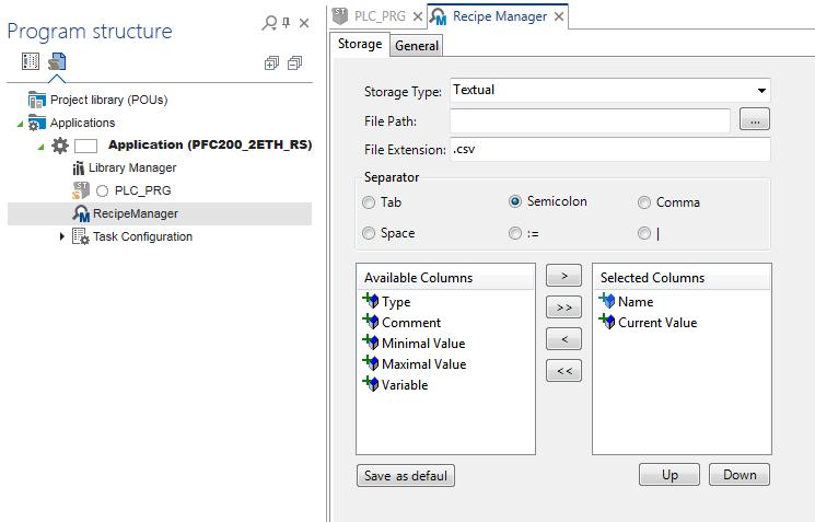 Ogólna konfiguracja Recipe Managera