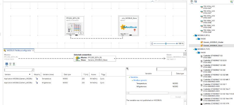 Widok konfiguratora MODBUS wbudowanego w e!COCKPIT