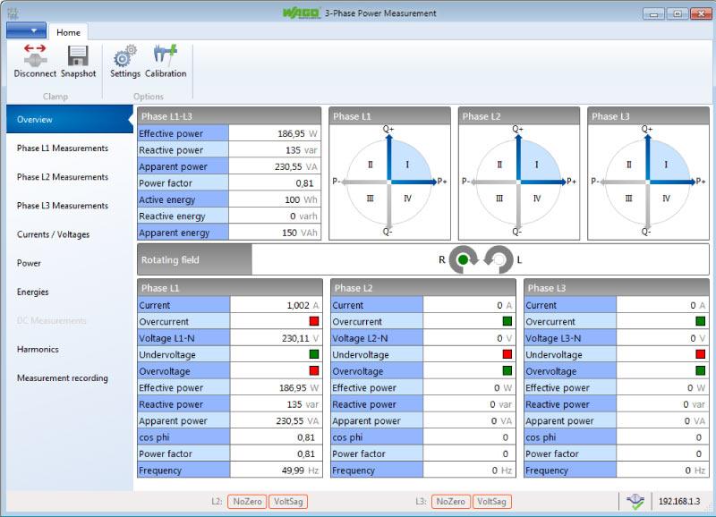 Widok okna pomiaru energii w oprogramowaniu WAGO-I/O-CHECK