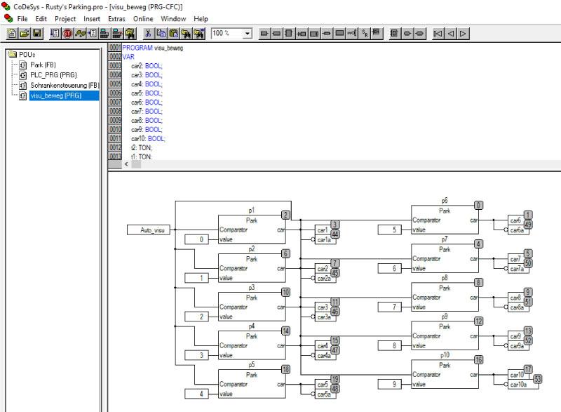 Widok przykładowego programu napisanego w środowisku WAGO-I/O-PRO